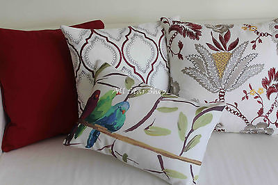 Art Vintage Red Flower and Birds Set Home Cotton CUSHION COVER PILLOW CASE 18""