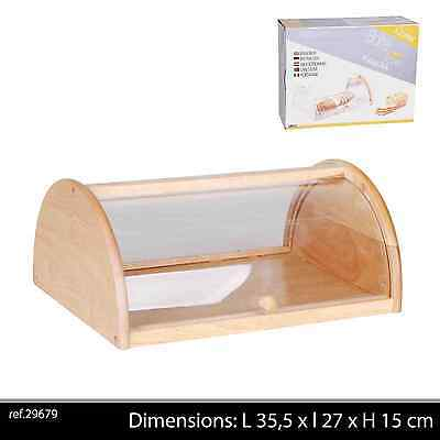 Acrylic Top Bread Bin Drop Front Wood Wooden Large Loaf Storage Container