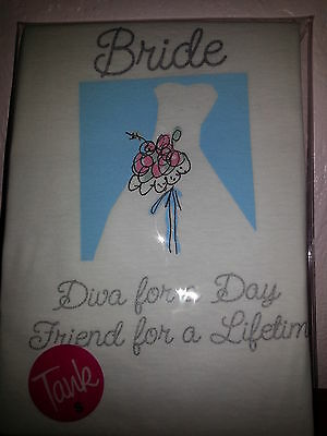 "Bride ""Diva For a Day Friend for a Lifetime"" White Tank Top Wedding NIP  XL"