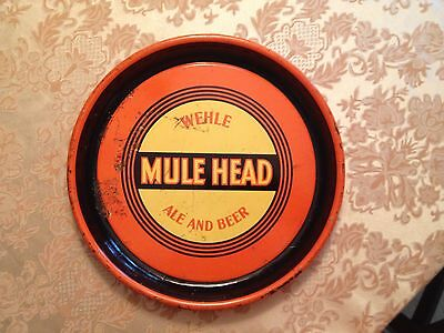 Wehle Mule Head Ale Beer Tray 1930s  RARE yellow center. West Haven , CT