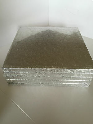 BULK 5 PACK of Culpitt Cake Boards Square Silver Drum Board 12mm Thick