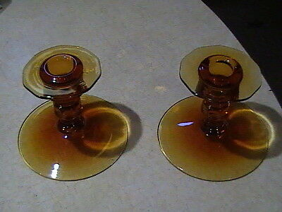 2 Cambridge Glass Decagon Amber Candle Holders Candlesticks 1930's