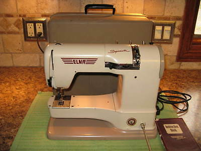 Vintage Elna Supermatic Sewing Machine, With Hard Case, Owners Manual, Excellent