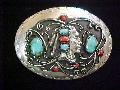 Belt Buckle Silver Squaw Wrap Signed Turquoise Coral Indian Head #9
