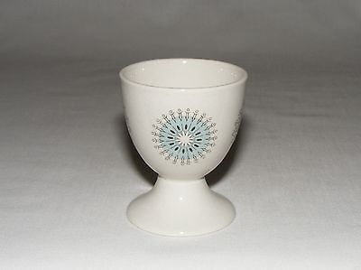 Vtg ENGLISH MYOTT MID CENTURY MODERN FOOTED ATOMIC TURQUOISE BLUE EGG CUP