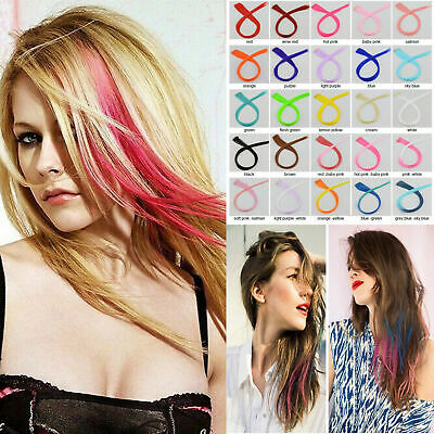 Color Hair Extension Clip In Head On Straight Long Party Colorful Gradient Color