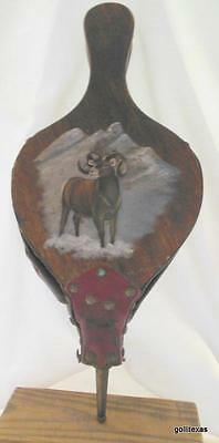Vintage Fireplace Bellow Fire Stoker Wood Hand Painted Big Horn Sheep Leather