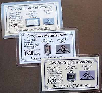 ACB PT Platinum BULLION MINTED 1 GRAM, 5GRAIN & 1GRAIN BARS 99.9 Pure + coa!!