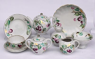 Tea set CHERRY, 24 pcs for 6 persons, Lomonosov / Imperial Porcelain, Russia