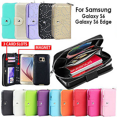 Galaxy S6 Case S6 Edge Plus Zip Wallet for Samsung Magnetic Leather Cover Coins