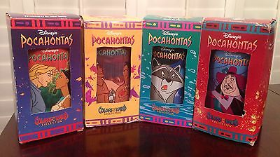 """DISNEY'S 1995 POCAHONTAS """"COLORS OF THE WIND"""" COLLECTION Set of 4 Glasses"""