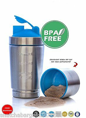 NEW Stainless Steel Gym Fit Fitness ECO Protein Shaker BPA Weight Training 900ML