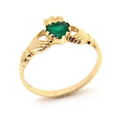 Claddagh Ring 9ct Gold with Green Agate Heart(CL9)