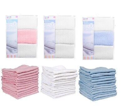 100% Cotton Baby Muslin Squares Cloths Reusable Nappy Bibs Wipes 3/6 Pack NEW