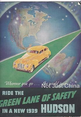 Vintage Original Colored - 1939 HUDSON - Green Lane of Safety - Brochure
