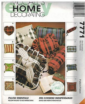 8661 UNCUT Vintage McCalls SEWING Pattern Pillow Essentials Square Bolster Round