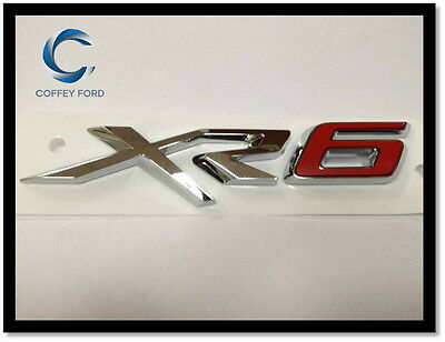 "Genuine Ford Falcon FGX ""XR6"" Badge. Front Grille. Silver / Red. AU/BA/BF."