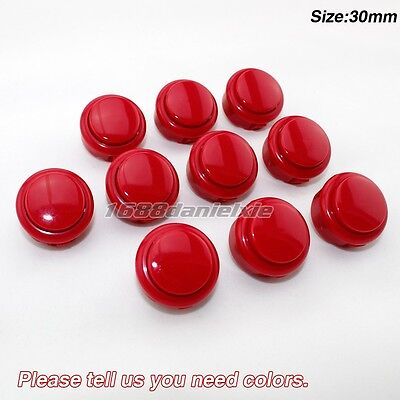 10x 30mm Push Buttons Perfect Replace Arcade Sanwa OBSF-30 Buttons For MAME KOF