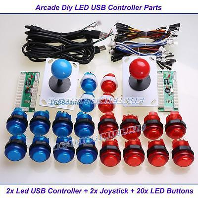 USB LED Controller to PC Joystick +  20 Illuminated Buttons For Arcade DIY Parts
