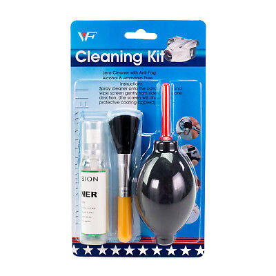 Cleaning Kit with Large Dust Blower, Brush, Fluid & Cloth for camera lens