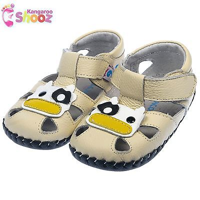 Boys Girls Toddler REAL Leather Soft Sole Baby Shoes Sandals - Pale Yellow Cream