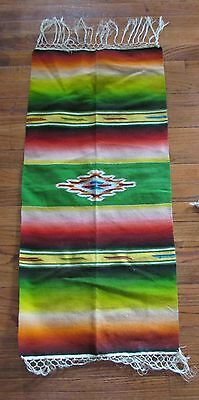 "Vintage Southwest Style Hombre Striped Table Runner with Fringe 17""x36"""