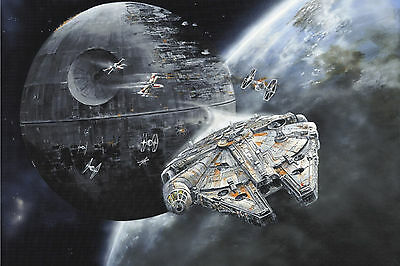 Death Star Millenium Falcon WALL ART CANVAS FRAMED OR POSTER PRINT