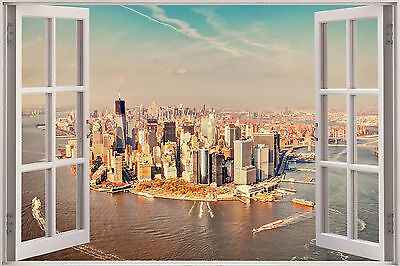 New York City Scene Window View WALL ART CANVAS FRAMED OR POSTER PRINT