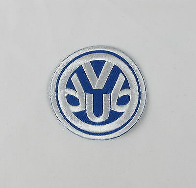 VW VDUB Iron or sew on embroidered patch  Blue Large camper van bus transporter