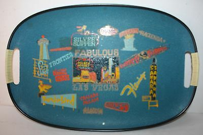VINTAGE LAS VEGAS COLLECTIBLE FIBERGLASS SERVING TRAY OLD HOTEL NAMES & SIGNS