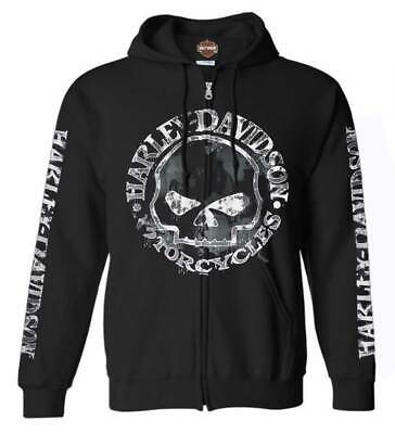 Black Harley-Davidson Men/'s Custom Skull /& Stars Fleece Pullover Sweatshirt