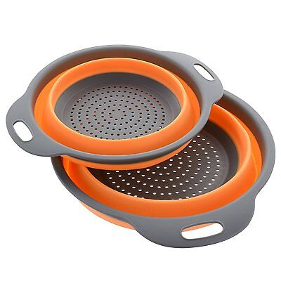 Kitchen Maestro Collapsible Silicone Colander/Strainer. 2 Units - 8 and 9 inch