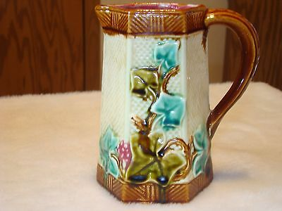 Majolica Frie Onnaing Ivy Pitcher says P.W. Pacific ???  1 452  Made in France