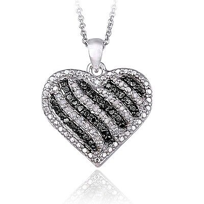 0.50ct TDW Treated Black or Blue & White Diamond Striped Heart Necklace in Brass
