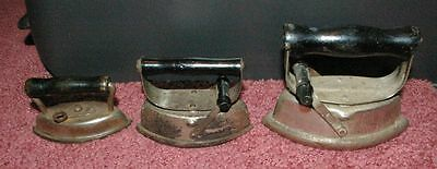 Lot of 3 smaller Antique  Sad Irons  2 matching Childs toys FUN LOT!