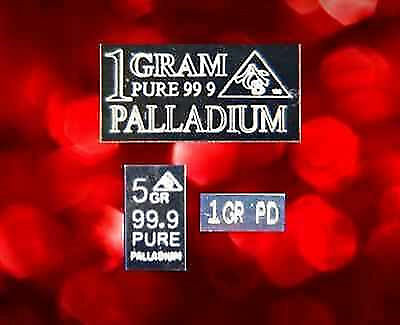 (3 pack)  ACB SOLID Palladium PD BULLION MINTED 1GRAM, 5GRAIN & 1GRAIN BARS!!!!!