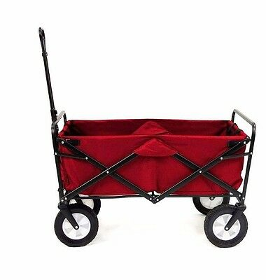 Mac Sports RED Folding Wagon 600D Polyester Fabric Steel Frame Camping Beach