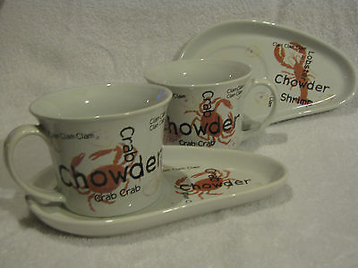 Lot of (2) Crab Clam Chowder Soup Cup Mug & Snack Sandwich Tray Plates