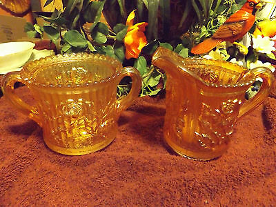 BEAUTIFUL IMPERIAL  CARNIVAL GLASS (LARGE) SUGAR AND CREAMER SET~WOW