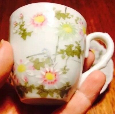 Quaint One Of A Kind Antique Vintage Handpainted Bone China Cup And Saucer
