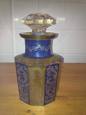 COBALT & YELLOW BOHEMIAN ETCHED GLASS DECANTER/ PERFUME BOTTLE, FACETED!!!