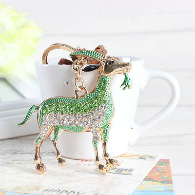 New Zodiac Goat Sheep Grass Green Lovely Charm Pendant Crystal Keyring Key Chain