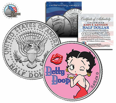 "Betty Boop ""Kiss"" JFK  Kennedy Half Dollar US Coin *Officially Licensed*"