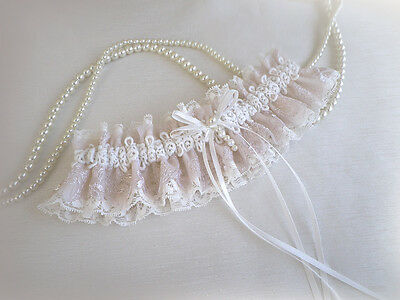 Light Ivory Champagne/Nude Lace Wedding Bridal Garter Toss Vintage Style