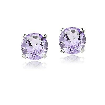 14K White Gold 1.50ct Amethyst Round Stud Earrings