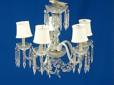 FABULOUS 1930's WATERFORD STYLE CRYSTAL 5 ARM CHANDELIER WITH CUT PRISM DROPS