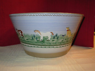 New Nicholas Mosse Landscape Animal Large Angle Bowl - Cream/green/blues/brown