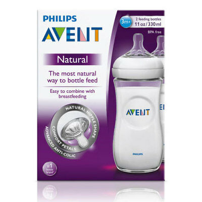 Philips Avent Natural Feeding Bottles Twin 2 Pack 330Ml Clear Baby Breastfeeding