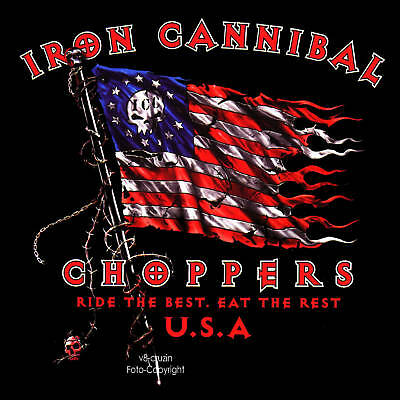 Choppers Americano Biker Bandiera USA T-Shirt Rider Motorcycle Club 4143 Bl