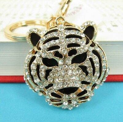 Hot Tiger Head Forward Charm Rhinestone Crystal Purse Bag Keyring Key Chain Gift
